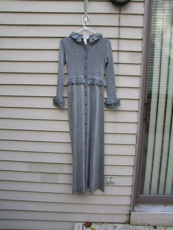 Metallic slate grey Cashmere and acrylic blend Maxi dress knit ala 1970s for holidays
