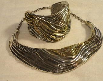 Yaacov Heller Sterling Silver 70's Necklace & Bracelet Set
