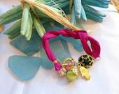 SALE --Silk fabric and glass beads bracelet