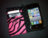 Pink and black zebra print iPhone wallet case with removable gel case