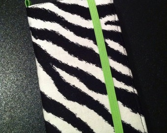 Zebra and lime green iPhone 3, 4, 4S, 5, iPod Touch 4G, 5 wallet with removable gel case
