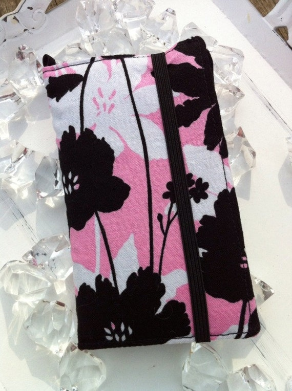 Pink, white, black flower print iPhone 3, 4, 4S, 5, iPod Touch 4G wallet with removable gel case