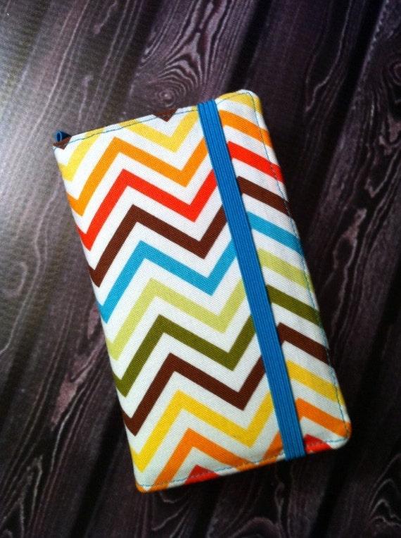 Chevron multicolor iPhone wallet case with removable gel case