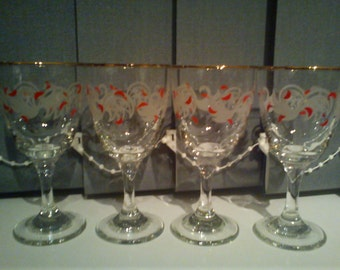 Vintage Drinking Glasses x 4 Red & White Pattern -Port/Sherry