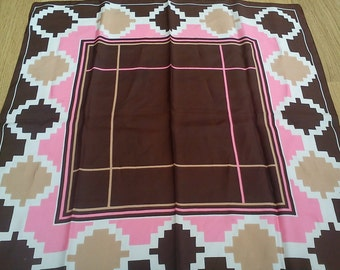Vintage Ladies square abstract St Michael scarf -Brown,pink,beige & cream