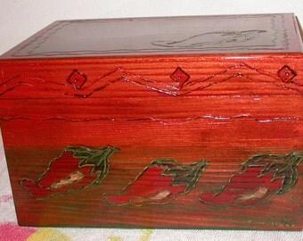 Hot Chili Wood Box, Wooden Boxes, Treasure Boxes, Southwest Home Decor