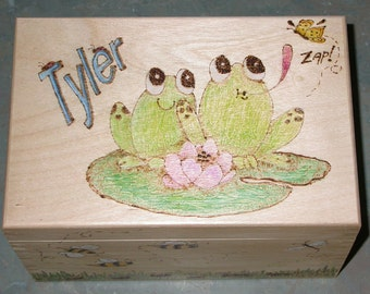 Frog Wood Treasure Box, Frogs, Bugs, Little Boys, Treasure Boxes, Wooden Boxes