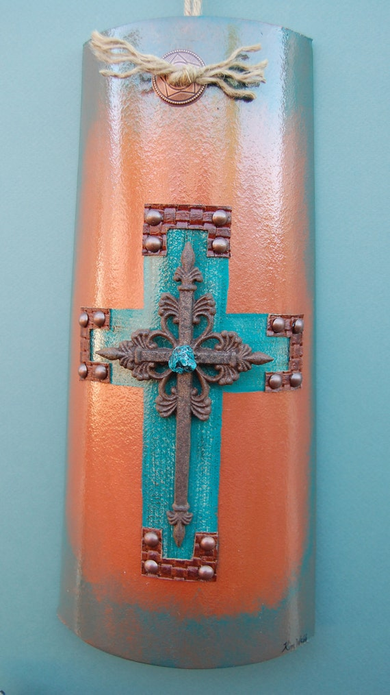 Items similar to turquoise iii cross tile wall hanging crosses western home decor Home decor wall crosses