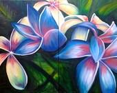hawaiian flower oil painting tropical frangipani decor caribbean modern colorful landscape CANVAS PRINT of original by Heather Wallace