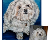 CUSTOM PET PORTRAIT original oil painting dog painting puppy art great gift shih tzu 11x14 made to order by Heather Hughes