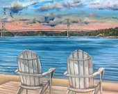 Adirondack Chairs on water olympic peninsula landscape oil painting Tacoma Narrows Bridge Washington state sunset beach CANVAS PRINT