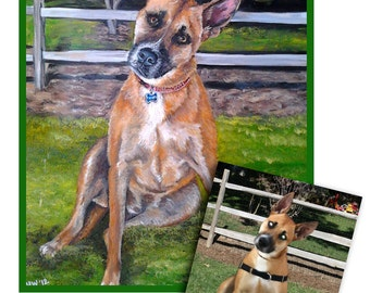 Custom dog portrait original oil pet portrait painting puppy art shepherd lab great gift 16x20 made to order by Heather Hughes
