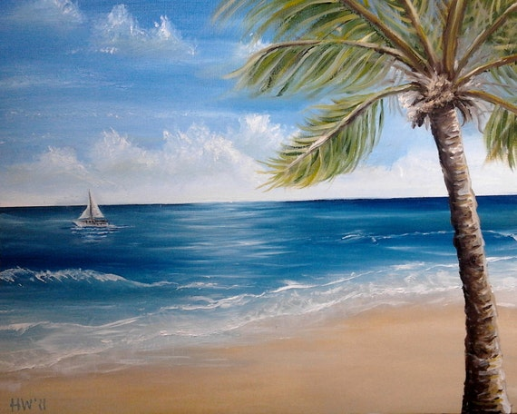 Items similar to palm tree oil painting beach ocean key for Palm tree painting