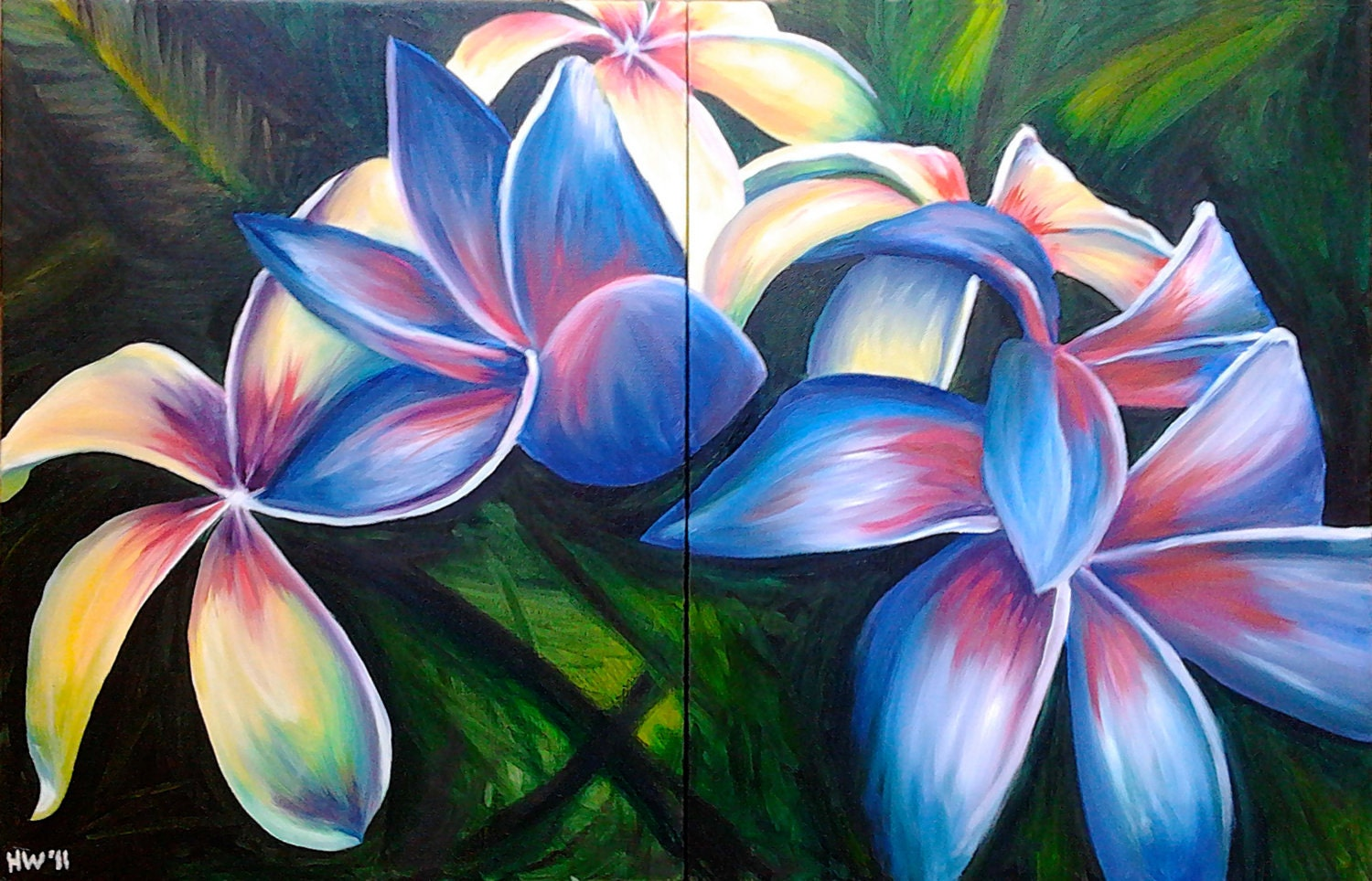 hawaiian flower oil painting tropical by SouthPawPaintings ...