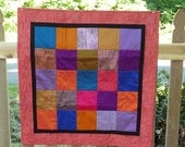 Abstract Quilt, Colorful Square Silk Wall Hanging Quilt, Brushed Silk, Pink, Blue, Purple & Orange Quilts