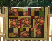 Hydrangeas Flowers Quilt, Patchwork Lap Quilt, Beautiful Throw, Housewarming Gifts For Her, Rose Colored, Victorian