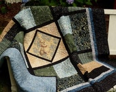 White Dog Quilt, Adorable Terrier Puppy Blanket, Lap Quilts, Blue & Green Dog Lover Art Quilt