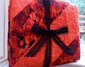Flower Quilt, Peach Orange Poppy Twin Bed Blanket, Large Lap Quilt, Beautiful Vibrant Bright Floral, Bright Happy Gifts for Her