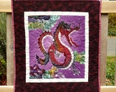 Dragon Art Quilt, Chinese Art, Asian Home Decor, Wall Hanging Quilts On Sale, Dragons, Unique, Fantasy, Red, Purple, Great Gifts Under 75
