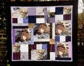 Asian Crane Quilt, Handmade Patchwork Lap Quilts, Oriental Birds, Purple, Lavender, White, Black, Special Unique Original Quilts on Sale