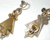 Reserved for Linda    //////////    ON SALE Antique Victorian Etched Gold Earrings