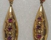Victorian 15K Gold Ruby Earrings