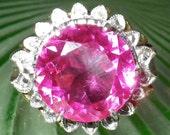 HUGE HEAVY Vintage Art Deco 14K Gold Pink Topaz Ring