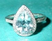 14K White Gold Aquamarine Topaz and Diamond Engagement Ring
