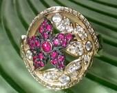 14K Gold Ruby Flower Ring