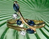 ON SALE Vintage 80's 14K Yellow Gold Diamond and Sapphire Ring size 8