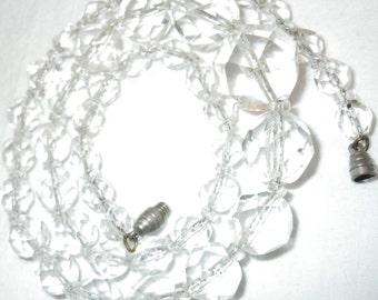 Vintage Sterling Graduated Rock Crystal Necklace