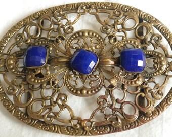 Antique Brass and Cobalt Blue Glass Belt Ornament