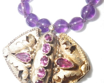 Victorian 16K Gold Amethyst Pendant Necklace