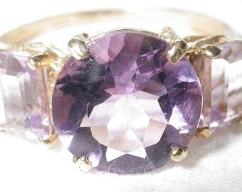 Vintage 3-Stone Amethyst Ring