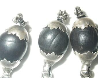Vintage Black Seed Pod Silver Bracelet