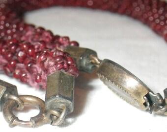 ON SALE   Victorian Set of Girls Faceted Garnet Bead Bracelets