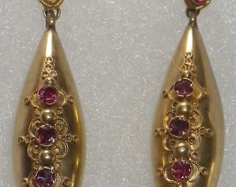 Victorian 15K Gold Ruby Earrings