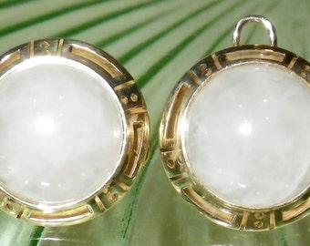 Vintage Art Deco 10K Gold Agate Earrings