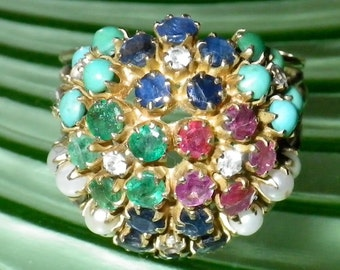 HUGE Vintage 14K Gold Emerald, Ruby, Sapphire, Pearl and Turquoise Ring