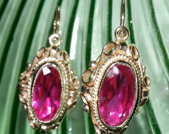 Antique 14K Gold Filigree Ruby Earrings