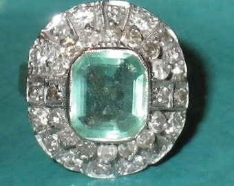 Late- Victorian 18K White Gold Columbian Emerald and Mine Cut Diamond Ring Size 8