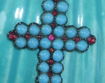 Vintage Austro-Hungarian Silver, Turquoise and Garnet Paste Cross Pendant Necklace
