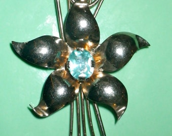 ON SALE Vintage Solid Sterling Silver Mid-Century Blue Paste Flower Brooch