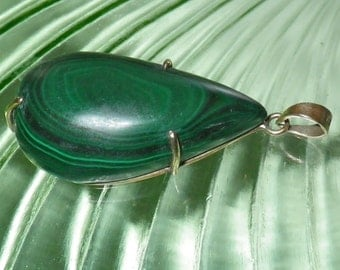 HUGE Vintage Tear-Drop 9K Gold Malachite Pendant