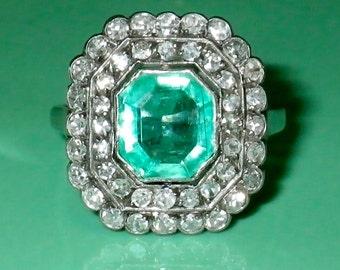 Vintage Pre 1920's Art Deco Emerald and Diamond 18 K Engagement Wedding  size 6.25