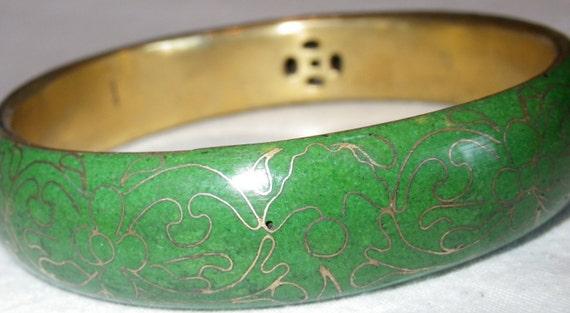 Vintage Green Cloisonne Bangle Bracelet