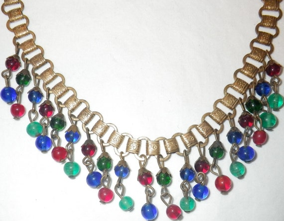 Vintage Egyptian Revival Bookchain Bib Style Necklace