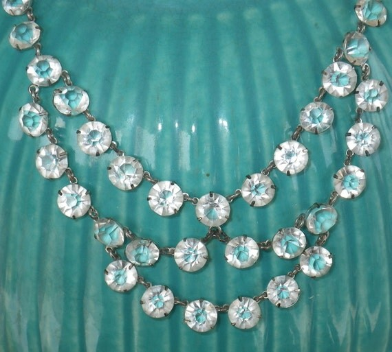RESERVED fore K  //////////////////////////  Vintage Clear Open-Back Czech Glass Bib-Style Necklace