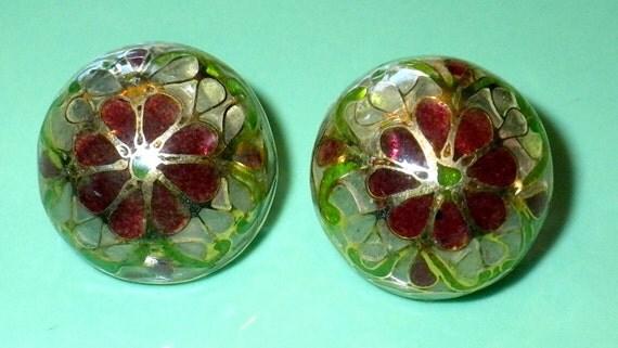 ON SALE Vintage Art Deco Plique A Jour Enamel Stained Glass Cloisonne Earrings