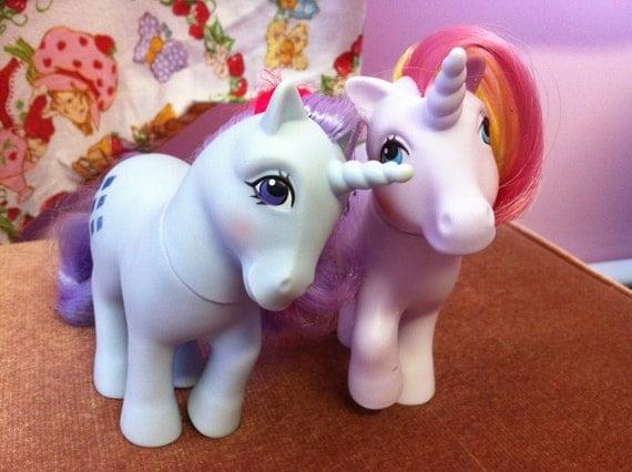 Vintage 80s toys Hasbro G1 My Little Pony LOT Ponies Windy Sparkler Unicorn Unicorns